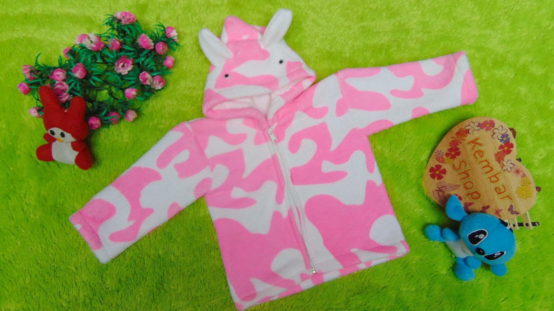 kembarshop - Baju Jaket Bayi Newborn 0-12bulan Doreng Mantel Hangat Murah