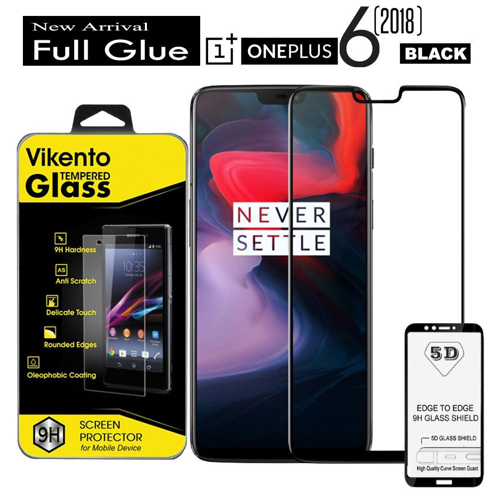 Vikento Full curved 5D black Tempered Glass Full Glue Full Coverage Screen Protector 9H For One