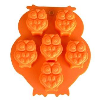 Griya Cetakan Silikon Puding Coklat Es Praline Jelly Permen Craft Sabun Owl 6 Cavity Warna Random