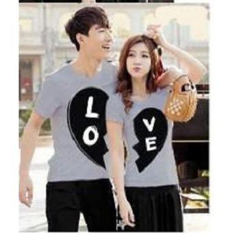 PROMO Couple Baju - Kaos Pasangan Murah - Kaos Black White Love ABU