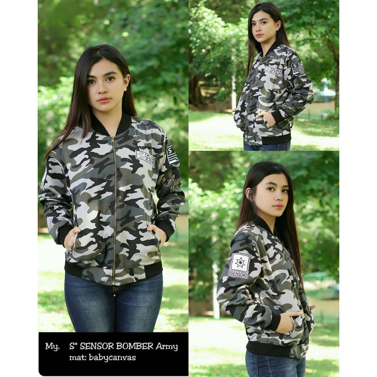 Parka Jaket Wanita Keren Army Green Referensi Daftar Harga Terbaru Cerruty Sensor Bomber Fashion