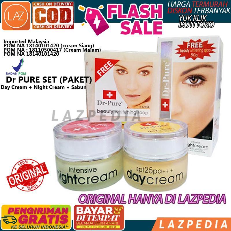 Dr Pure PAKET ORIGINAL Face Whitening Cream Siang & Malam + Sabun berBPOM Perawatan Wajah Original