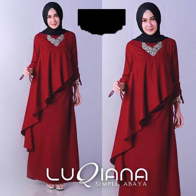 ... Snowshop Gamis Syari Maxi LUQIANA Bahan Baloteli Baju Muslim HIjab Fashion Muslim