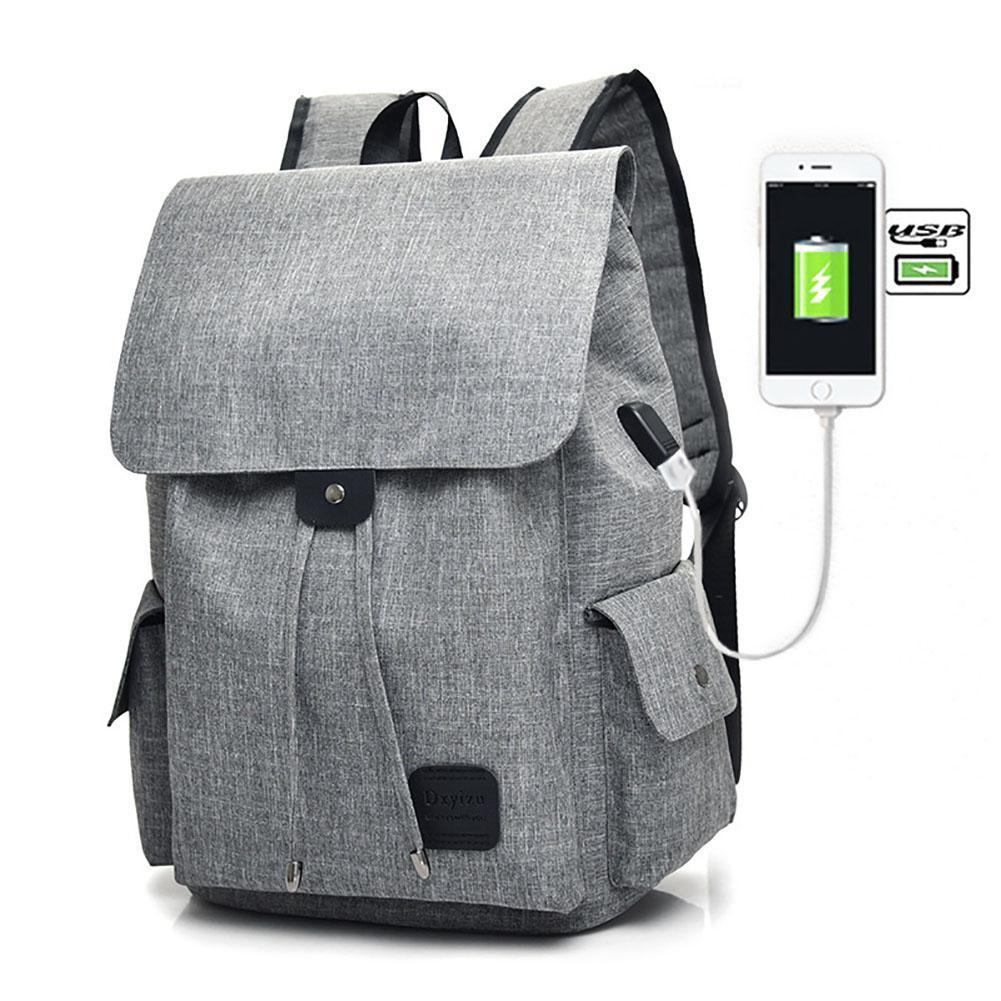 Unisex Kanvas Kapasitas Besar Tas Sekolah Modis Travel Outdoor Backpack dengan USB Eksternal Warna: Pink-Intl