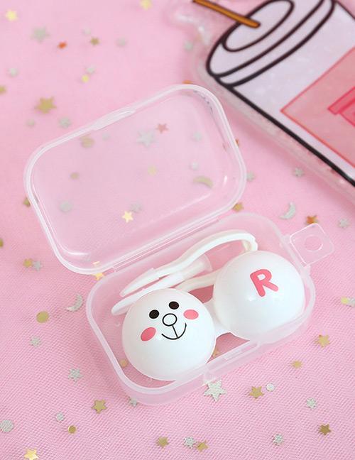 LRC Tempat Soflens Fashion White Bear Pattren Decorated Contact Lens Box