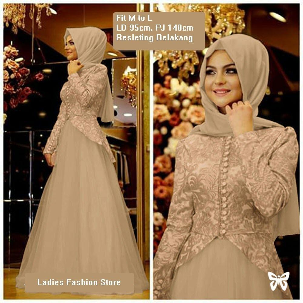 Dress Muslimah Panjang / Gaun Gamis Modern / Dress Gamis Wanita Murah /  Gamis Syari / Baju Muslim Model Terbaru / Dress Pesta Pernikahan Muslimah /