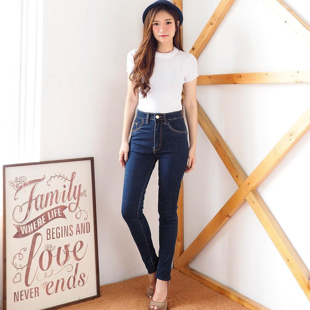 (TERKINI) Celana Skinny Jeans Wanita - Celana Hw Wash Dark Pocket - ANCIEN STORE