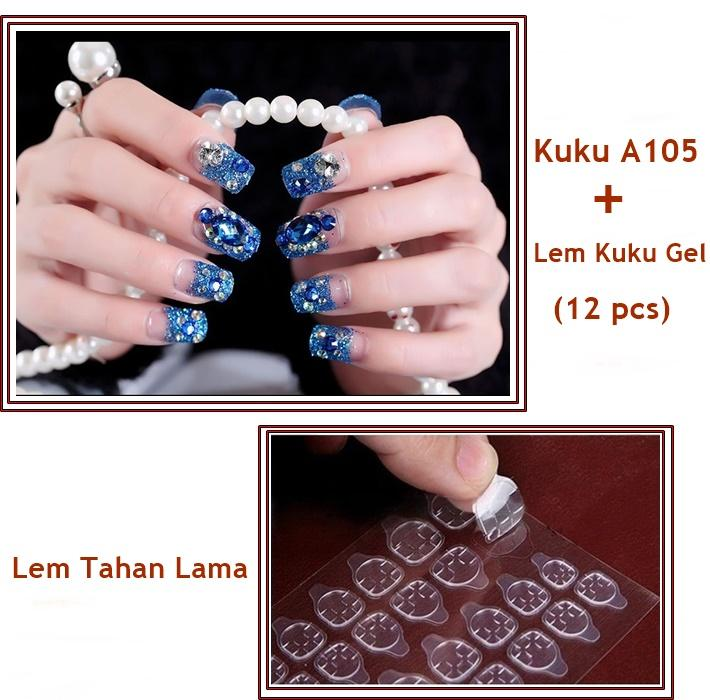 JBS Nails Kuku palsu Wedding Nail Art 3D Dan lem Kuku A105