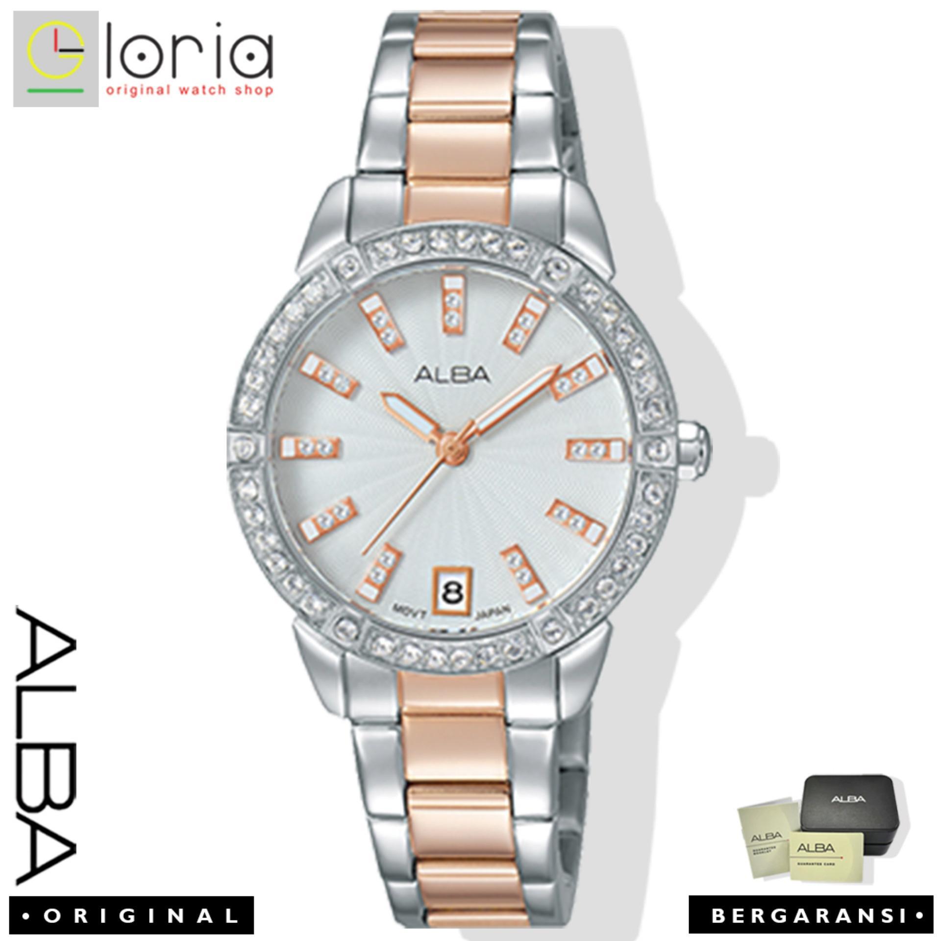 Alba Fashion Jam Tangan Wanita - Tali Stainless Steel - Silver RoseGold - AG8H03X1 | Lazada