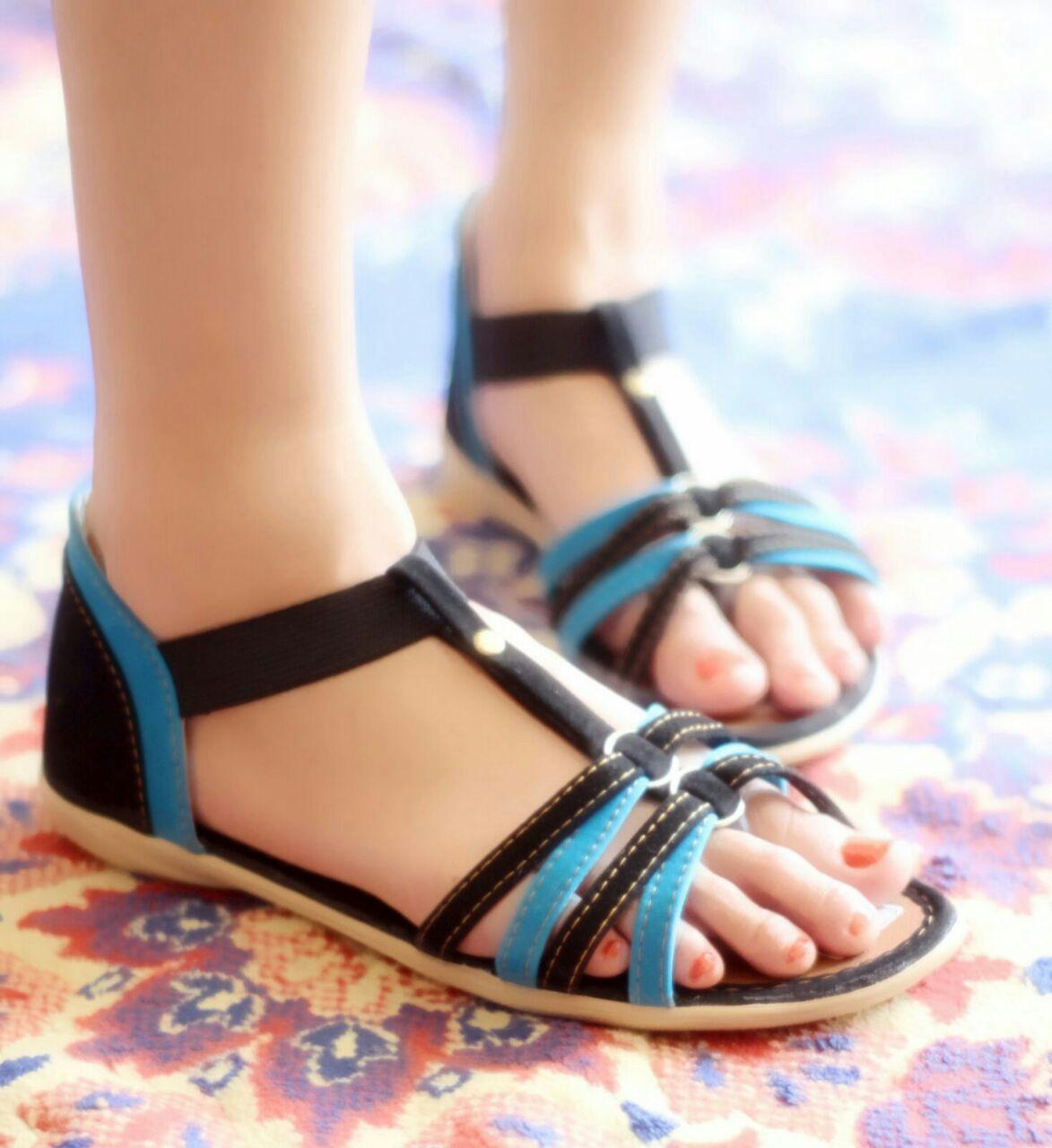 sandal wanita flat tali denim trendy santai Rp45.000