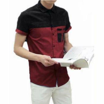 Kedai baju Kemeja pria casual berkualitas / kemeja lengan pendek / kemeja bryan maroon - SZ
