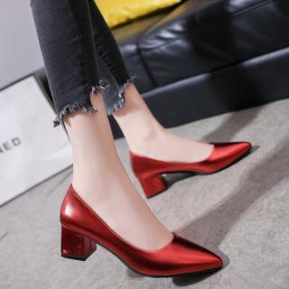2019 New Style Spring And Autumn Schick Soft Shallow Mouth Shoes Female Semi-high Heeled Block Heel Vocational Black Leather Shoes Female Work Shoes thumbnail