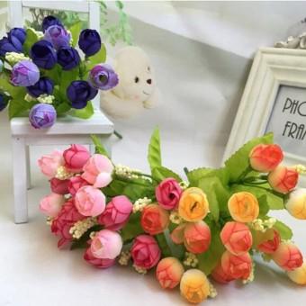 Baru 1 Buket 15 Kuntum Mawar Palsu Plastik Bunga Palsu Daun Dekorasi Rumah  Buket Bunga Pengantin 86cb13aa56