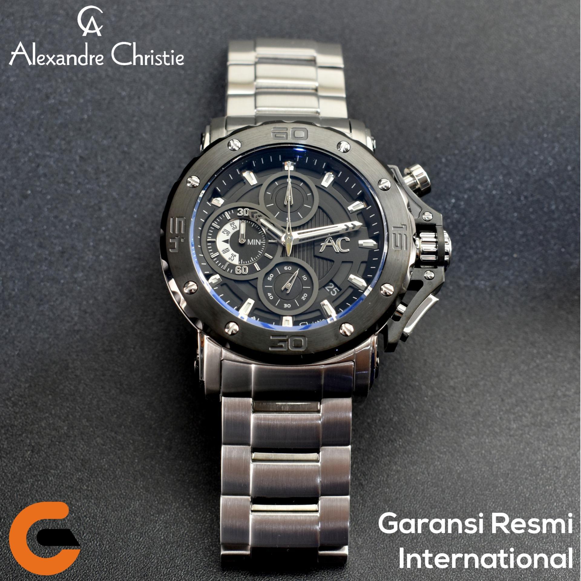 Alexandre Christie Jam Tangan Pria Alexandre Christie AC 9205 Chronograph Tali Rantai Logam Stainless Steel Hitam