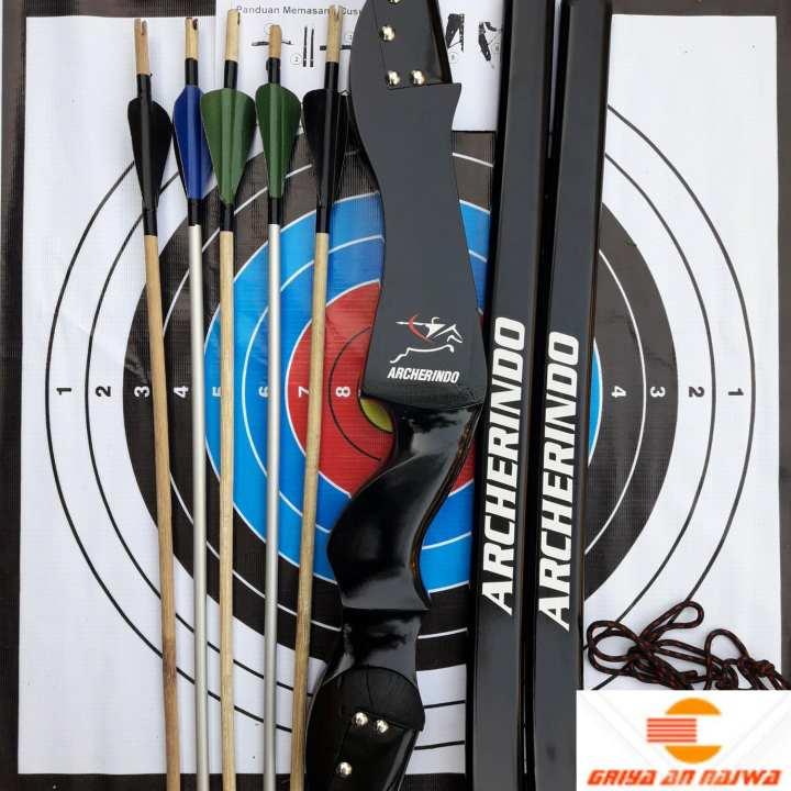 Busur Panah Lengkap R50 + 5 Anak Panah + Print Target