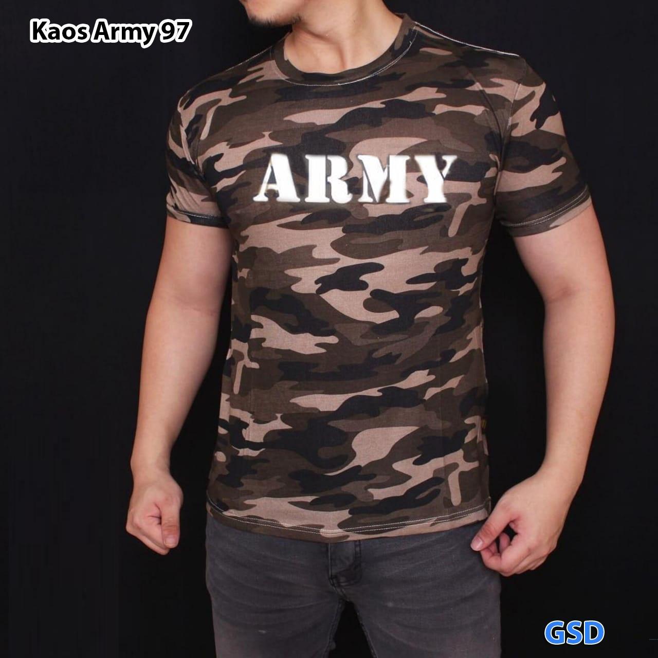 Kaos shirt pria / kaos lengan pendek / kaos santai pria / kaos kasual / kaos army terbaru / shirt trendi / kaos loreng / Kaos Army 97Rp53.300