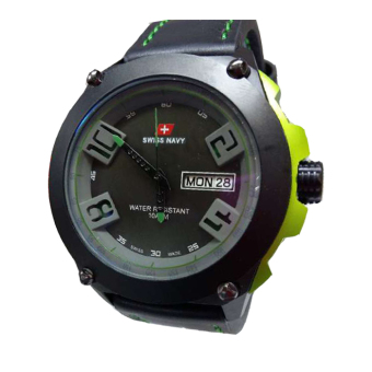 Swiss Navy - Jam Tangan Pria - Leather Strap - Sn 5852 - Hitam-Hijau d497a32670