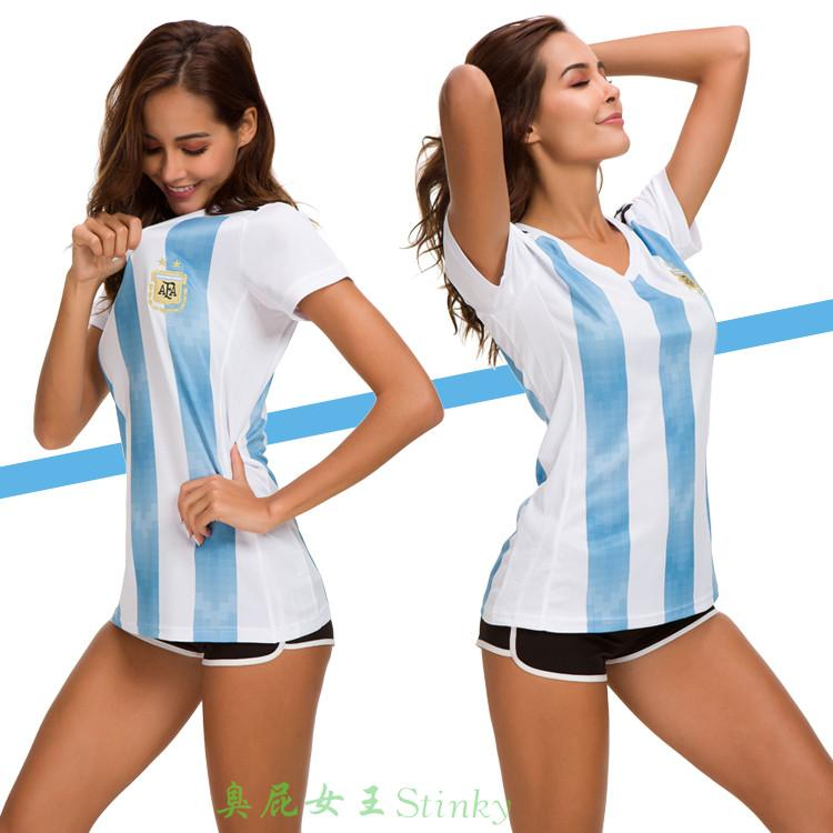 1 Pc/lot Argentina Jersey 2018 World Cup Argentina National Team Football Jersey/T-shirt For Woman