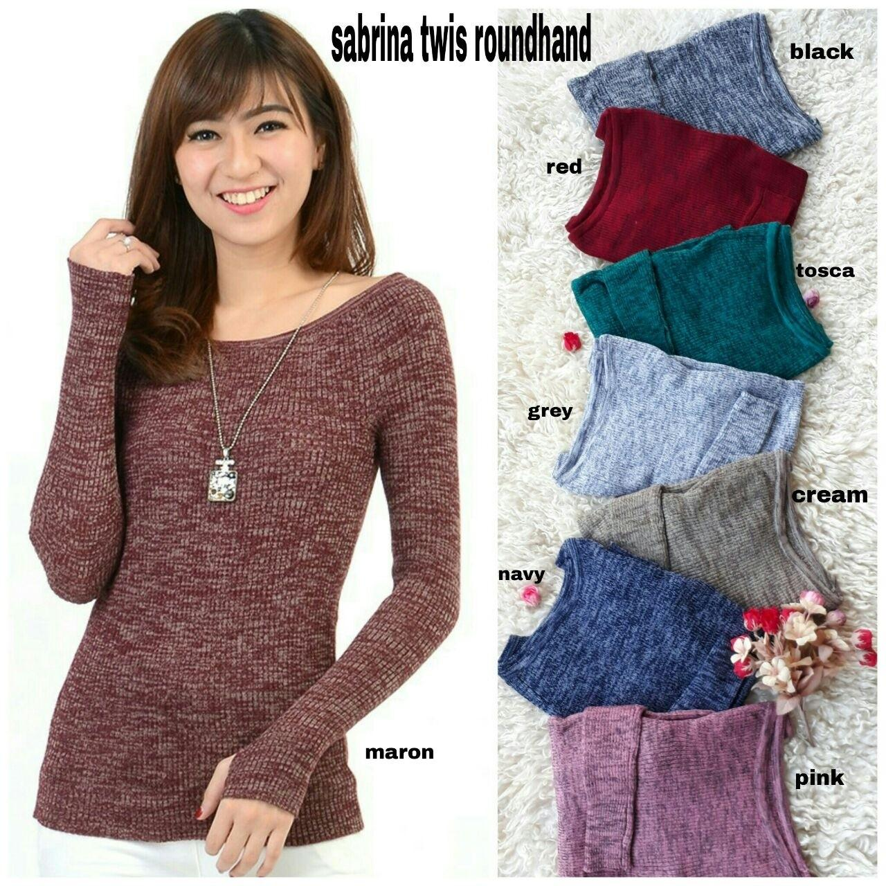 Grand LMS Sweater Sabrina Twis Roundhand 8 Varian Warna Bahan Rajut Stretch Fit to L /