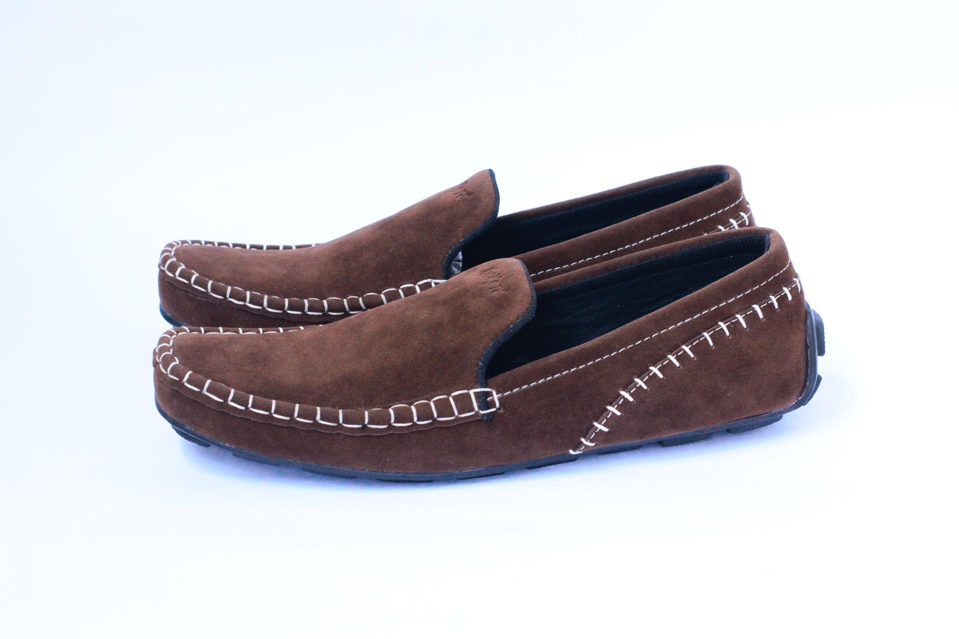 Sepatu casual pria slop loafers rajut kulit suede santai slip on ( LOKAL)  semi formal f193b9cae7