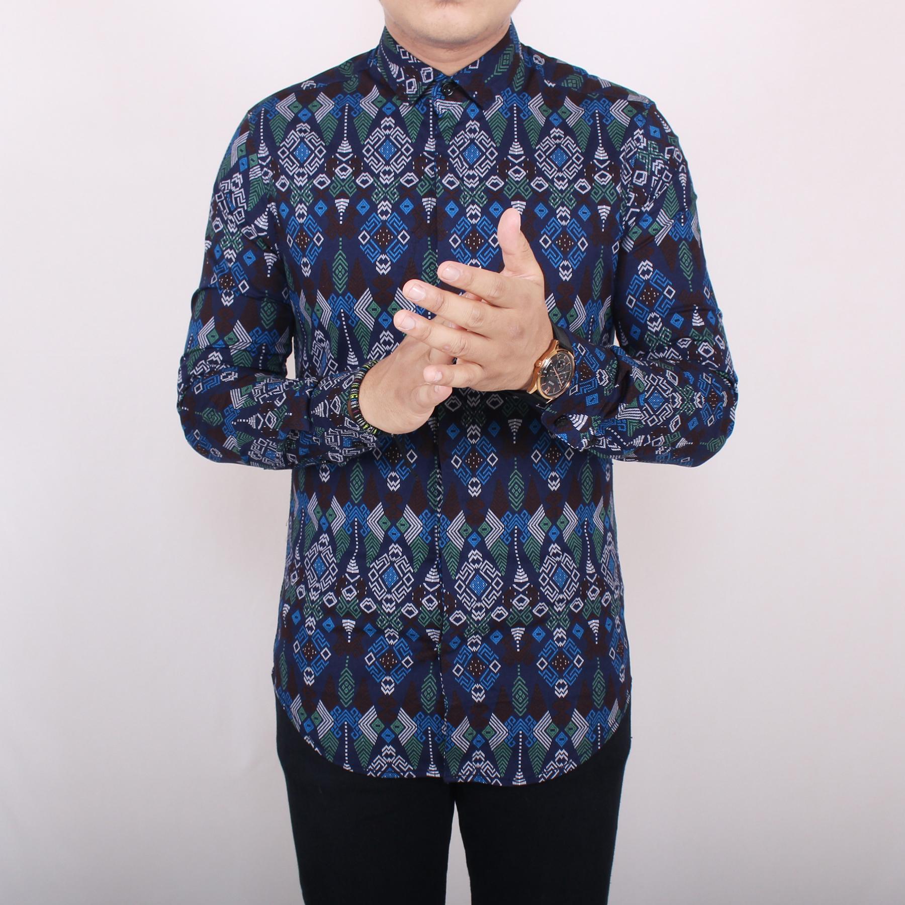 Zoeystore1 6184 Kemeja Batik Pria Lengan Panjang Kemeja Batik Kerja Formal  Kemeja Batik Songket Cowok Baju a26405de6f