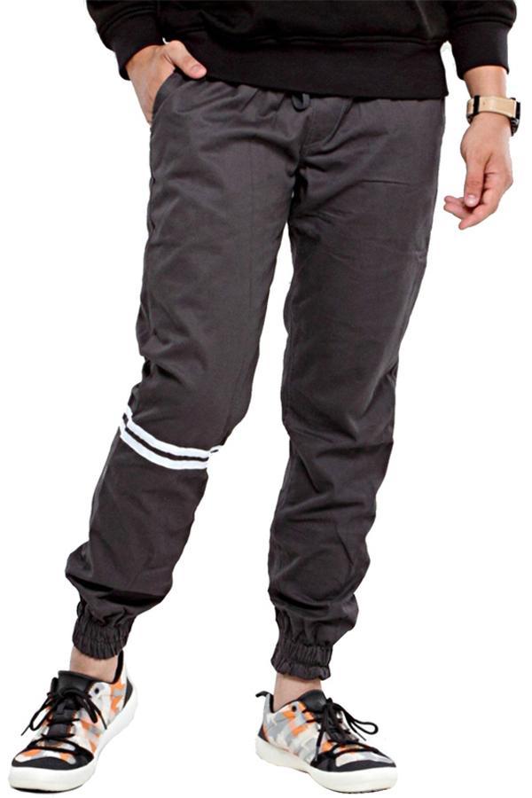 336cfa4fccc82 Zens Jogger Pants Strip Skinny Slimfit Casual  Celana Jogger Strech Training   Jogger STRIP Panjang Pria Best Seller - BIG SIZE 34 - Abu