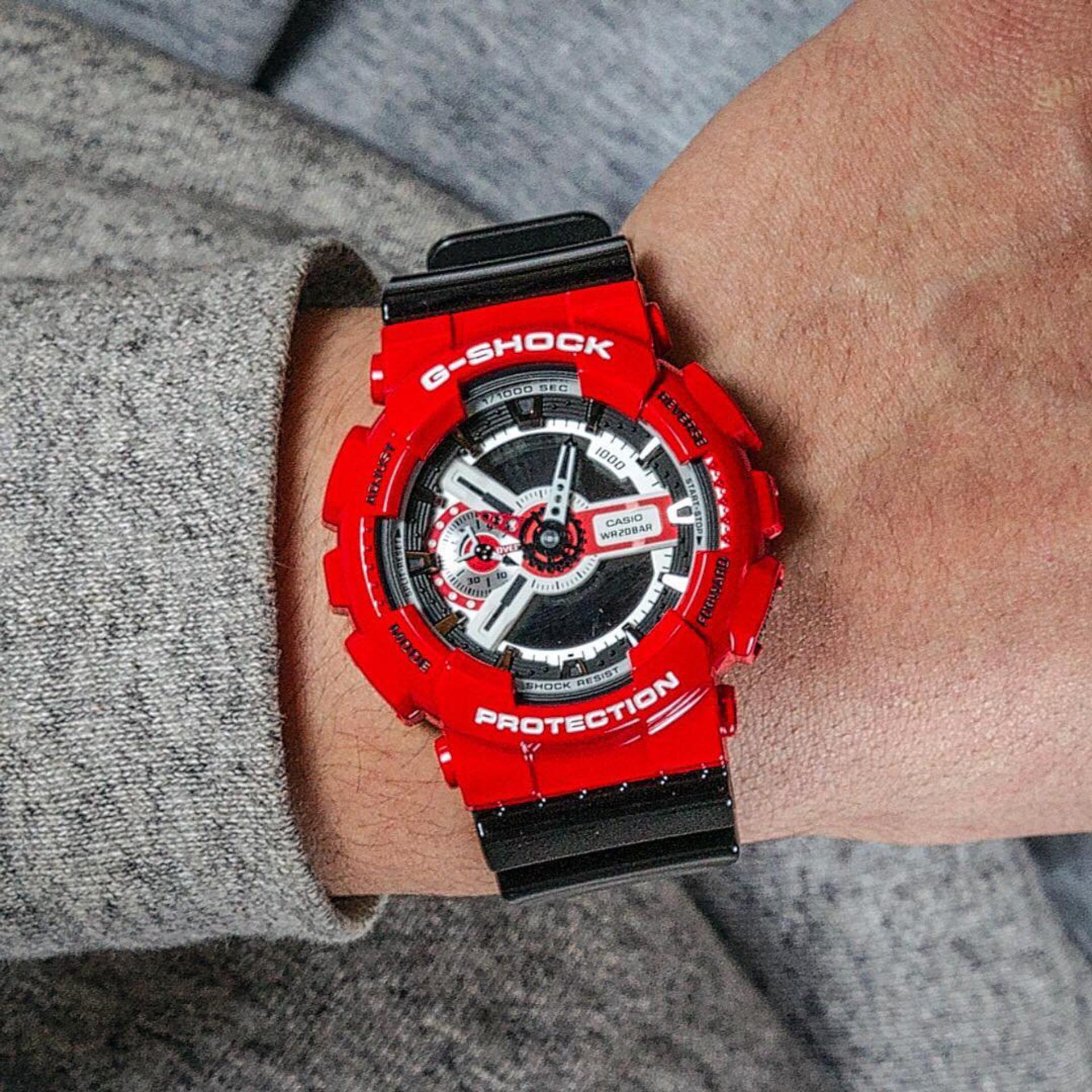 Casio G Shock Watch Jam Tangan Pria Biru Strap Rubber Gd 110 2dr 120mb 1dr Black Red Resin Source Analog Digital Ga