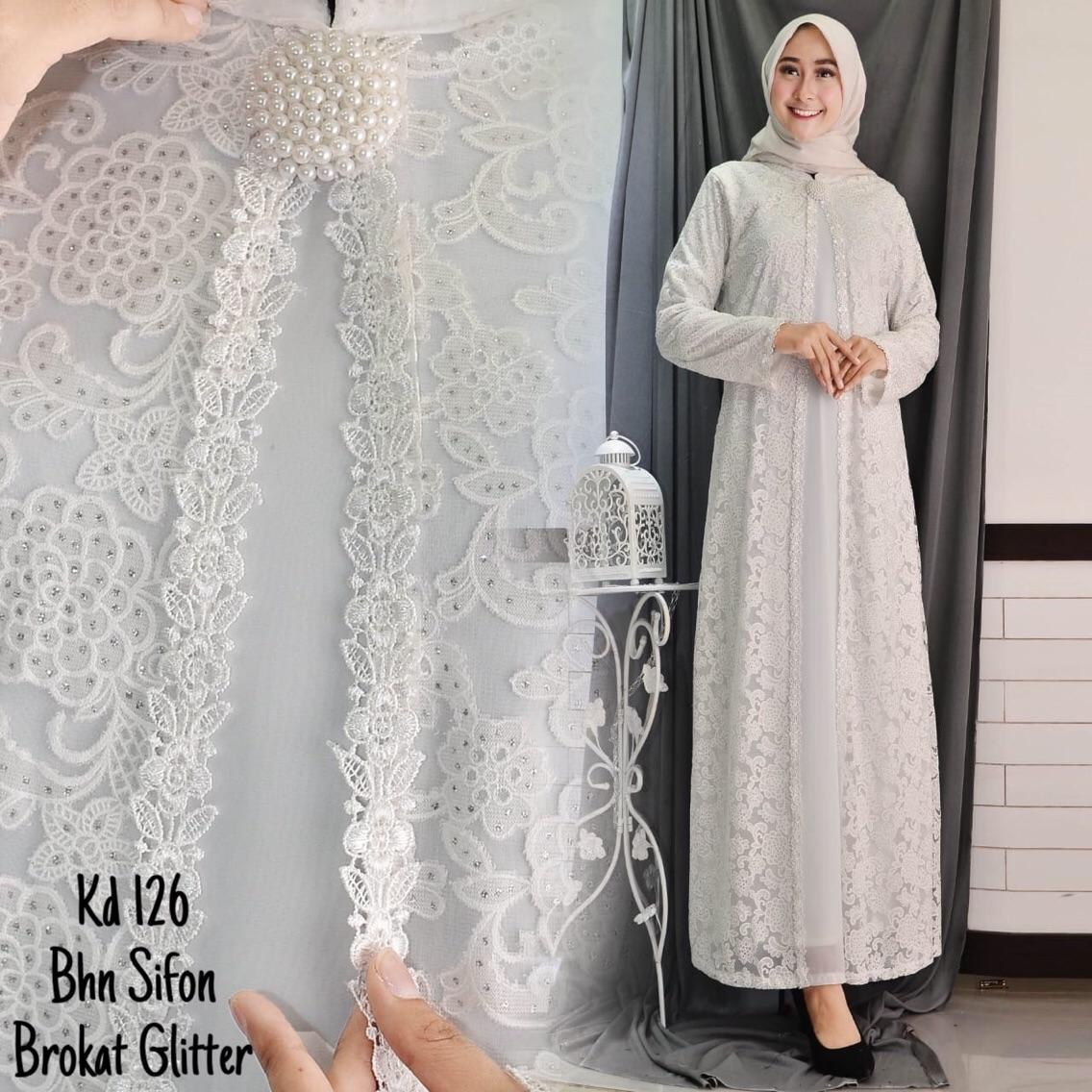 Full Brukat Baju Gamis Putih   Busana Muslim   Baju Muslim Wanita   9a12a82c11