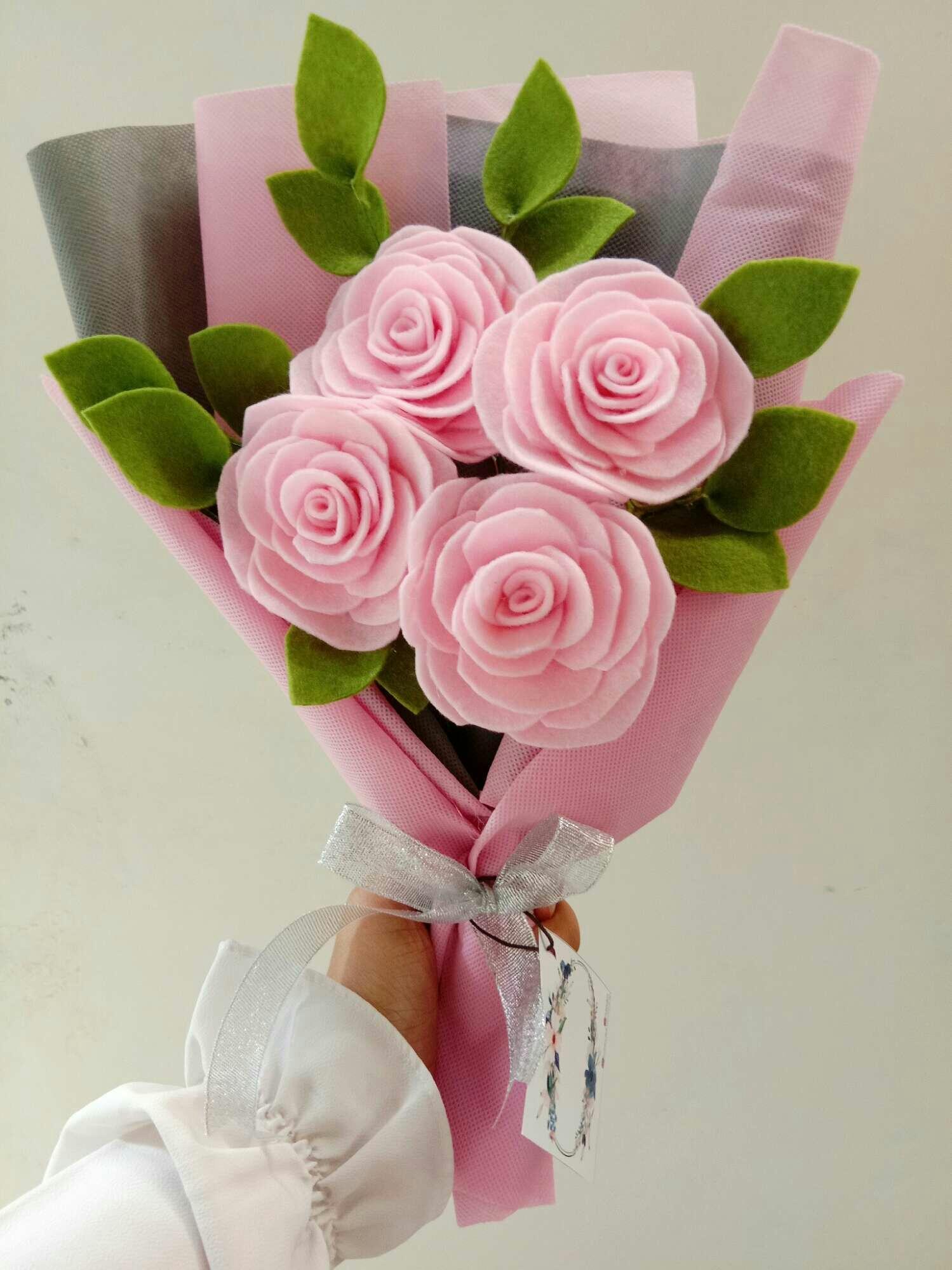 Buket Mawar Flanel Pink Muda Membeli Jualan Online Bunga Tanaman Artifisial Dengan Harga Murah Lazada Indonesia