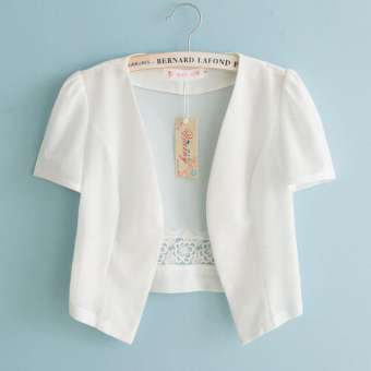 2018 เสื้อผ้าแฟชั่น สำหรับฤดูร้อนผ้าคลุมไหล่ขนาดเล็กเสื้อกันหนาวหญิงฤดูร้อนบางแบบสั้นสไตล์เกาหลีเข้าได้หลายชุด RESTONIC แขนกุดคาร์ดิแกนแขนสั้นส่วมด้านนอกสีเดียว