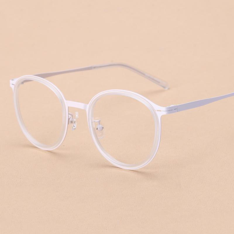 Transparan putih bingkai kacamata wanita rabun dekat bingkai besar Bingkai  Kacamata perempuan cahaya Retro Bundar Gaya 3dd98f41ee
