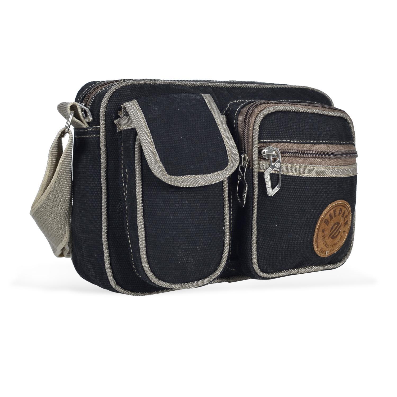 Baepack Tas Pingang Tas Pria Men Vintage Canvas Multifunction Travel Satchel Messenger Shoulder Bag - Black