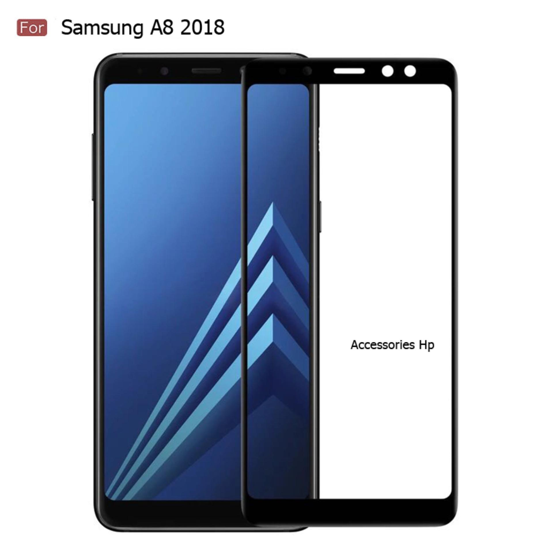 Accessories Hp 3D Full Cover Tempered Glass Warna Screen Protector Samsung Galaxy A8 2018 - Black