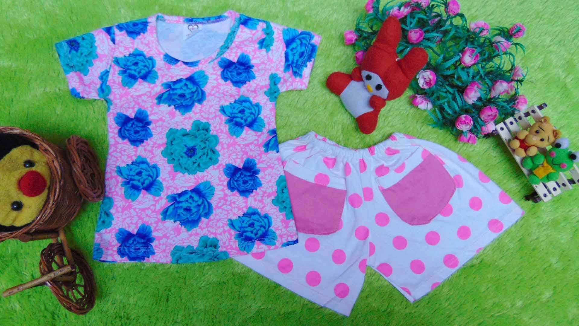 kembarshop - setelan kaos bayi newborn perempuan 0-12bulan bunga hotpants polka pink