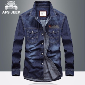 AFS JEEP Lengan Panjang Fashion T-shirt Spring Pria Pakaian Santai Kemeja  Katun Solid Color a268fe275f