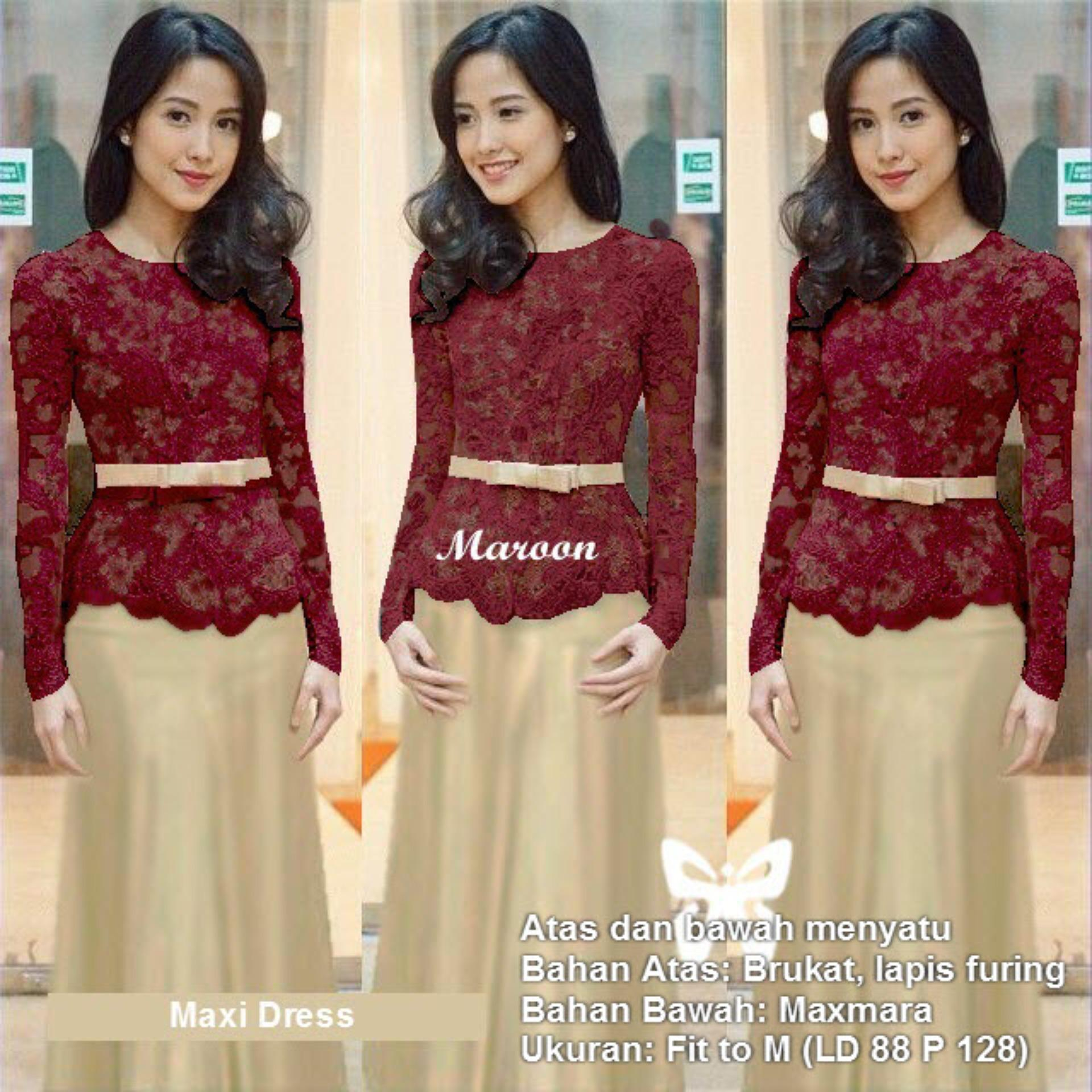 Flavia Store Maxi Dress Lengan Panjang Set 3 In 1 Brukat Fs0637