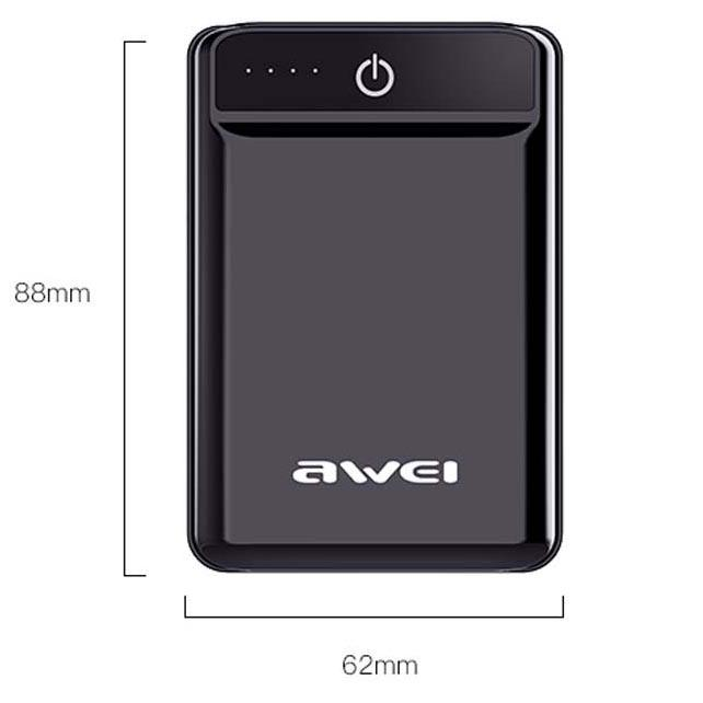 Awei Power Bank 2 Port 10000mAh - P54K - Black