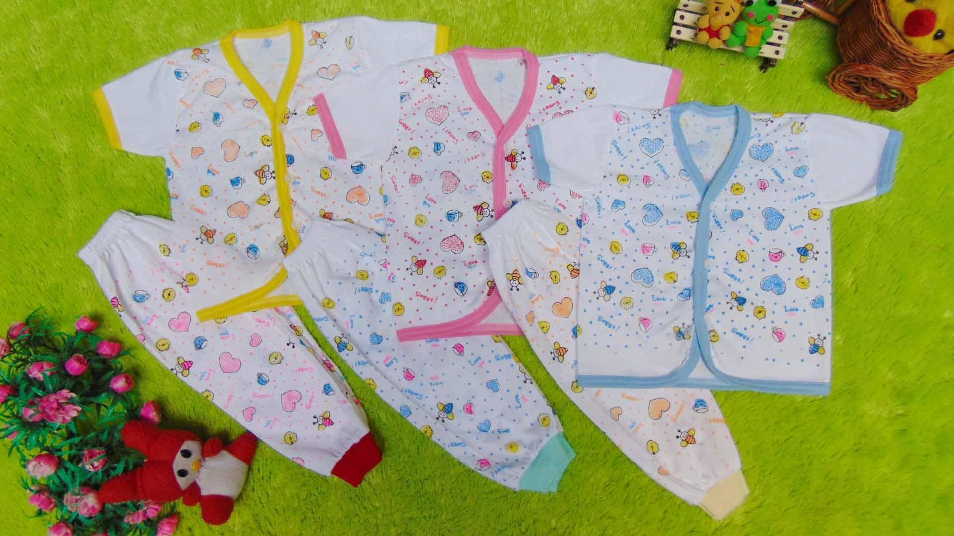kembarshop - paket hemat 3set setelan baju bayi 0-6bulan baby new born mix warna