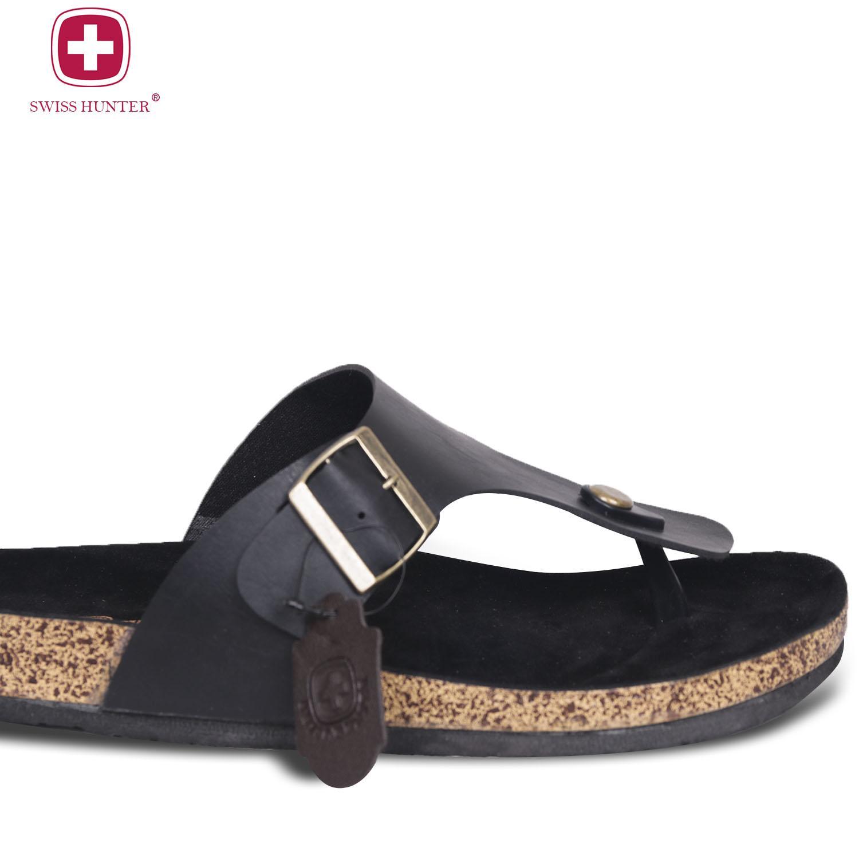 Swiss Hunter - Sandal Formal pria / Sandal formal kulit / Sandal pria Magnus (hitam) Free Tas Bally 9356 | Lazada Indonesia