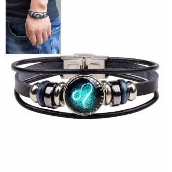 LRC Gelang Tangan Pria Fashion Black Bead Decorated Lion Shape Constellation Bracelet