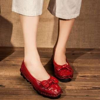 รองเท้าแนวย้อนยุครองเท้าสตรีหนังควายส้นแบน HUADO