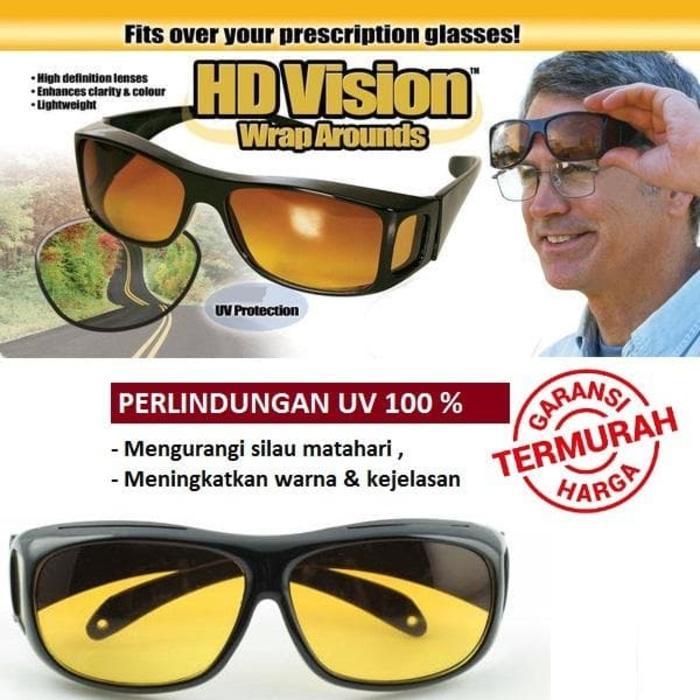 DISKON Kaca Mata HD Vision (1 Box isi 2) Anti Silau Siang dan Malam TERMURAH