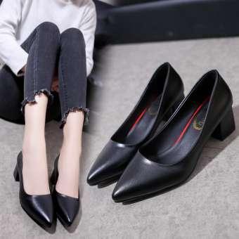 รองเท้าสุภาพสตรี ปลายแหลม ส้นสั้น