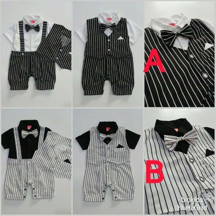 SINARPUTRA - Baju Bayi Laki Baju Kondangan Romper Tuxedo Bayi Rompi Pisah - Theo - All Size, Warna A