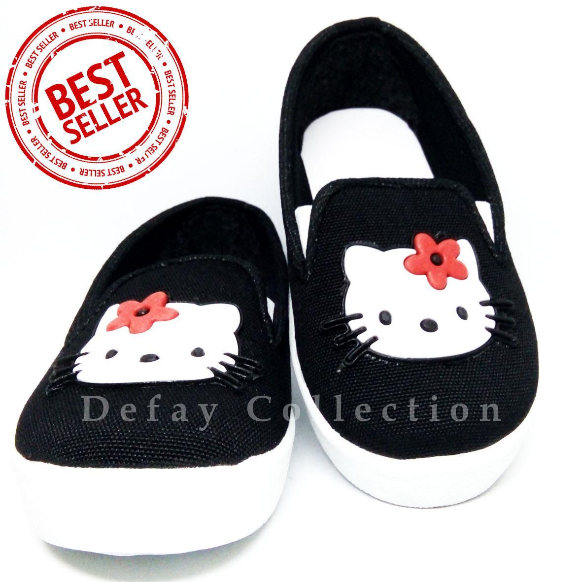 Sepatu Casual Anak Perempuan Hello Kity Hitam