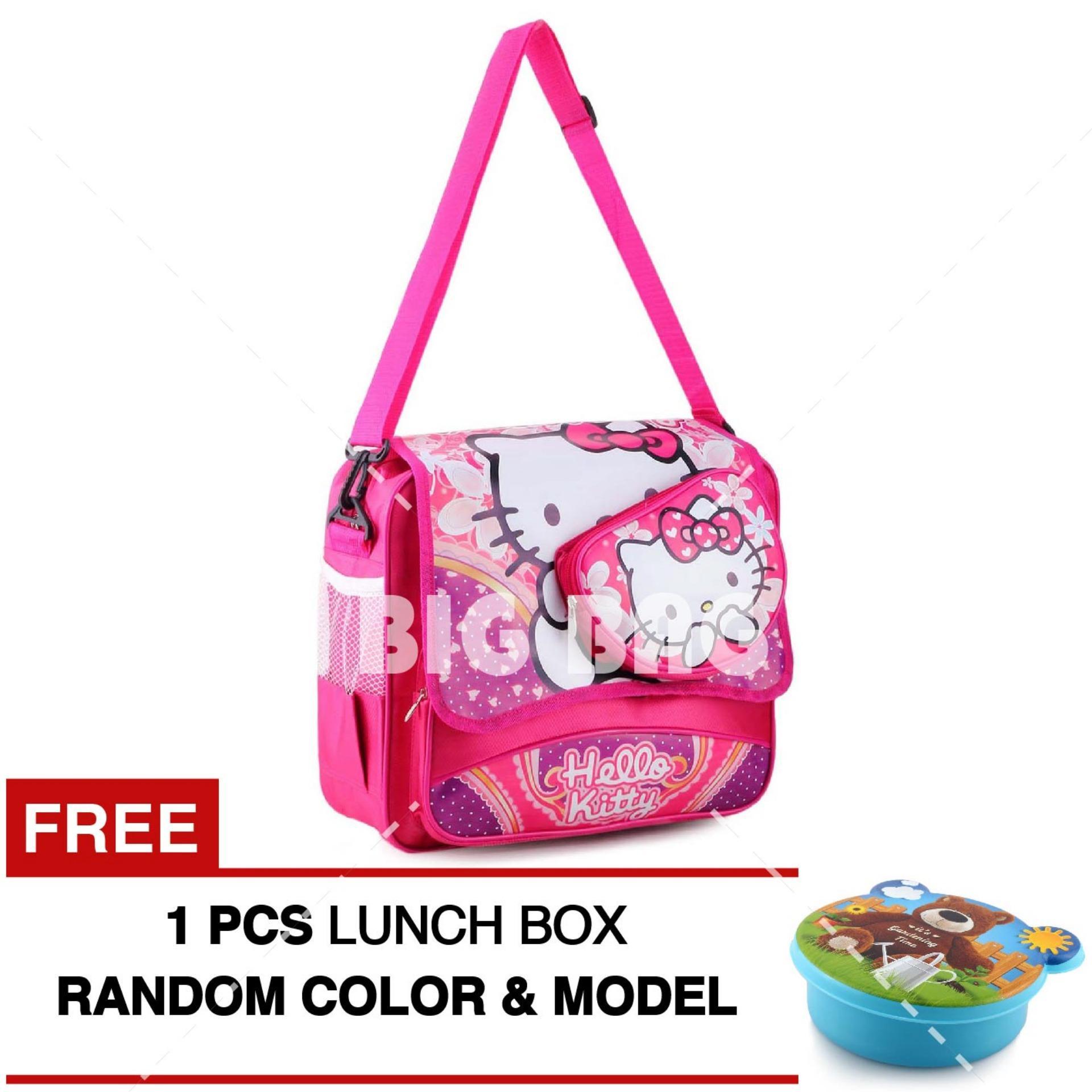 Tas Ransel dan Selempang Dwifungsi Anak TK dan SD Hello Kitty - Hello Kitty  - Flowers - School Bag Tas Sekolah Anak - PINK + FREE Lunchbox Tas Anak  Sekolah ... 1642712b46