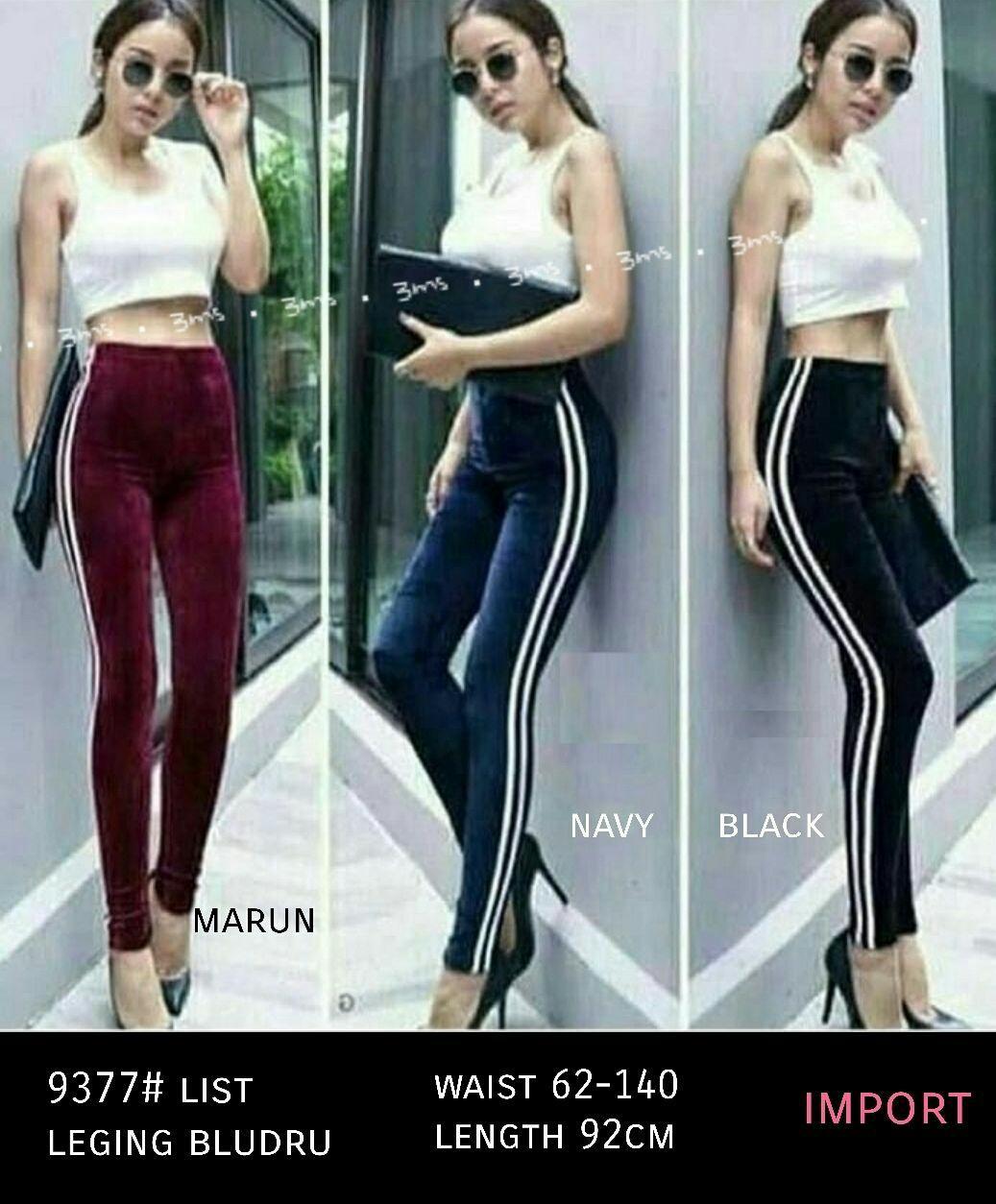 Fjco Bm 9377 Leging Bludru List Legging Wanita Celana Wanita Lazada Indonesia