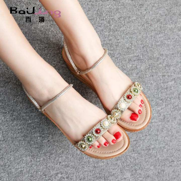Man's/Woman's:100 lings 2018 2018 2018 in summer new style of ascent heel one shoe two wear a female sandals the soft younger sister win with water drill thick bottom loose 榚 female shoes 3 dollars - intl :Outstanding Workmanship 2e0a7f