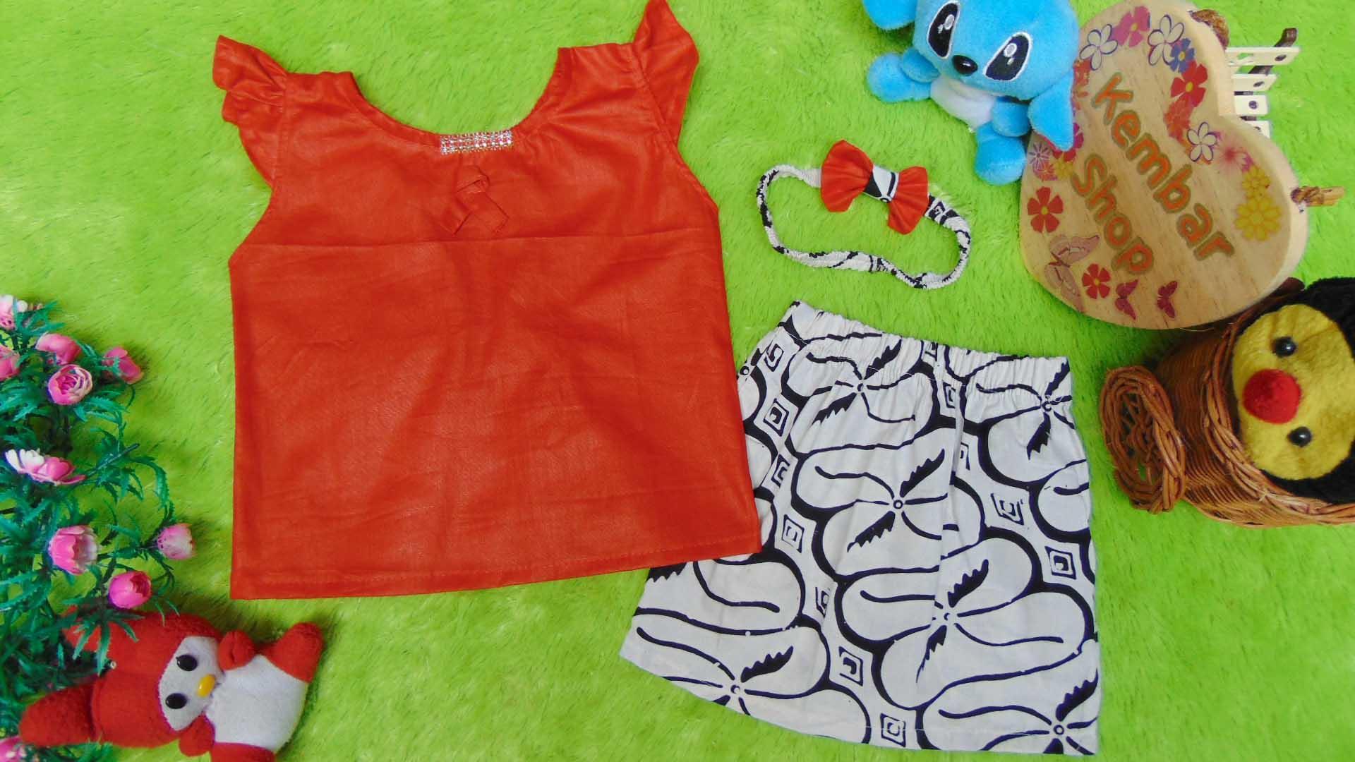 kembarshop-Setelan Baju Kebaya Kutu Baru Bayi Newborn 0-18bulan Plus Headband Polos Diamond