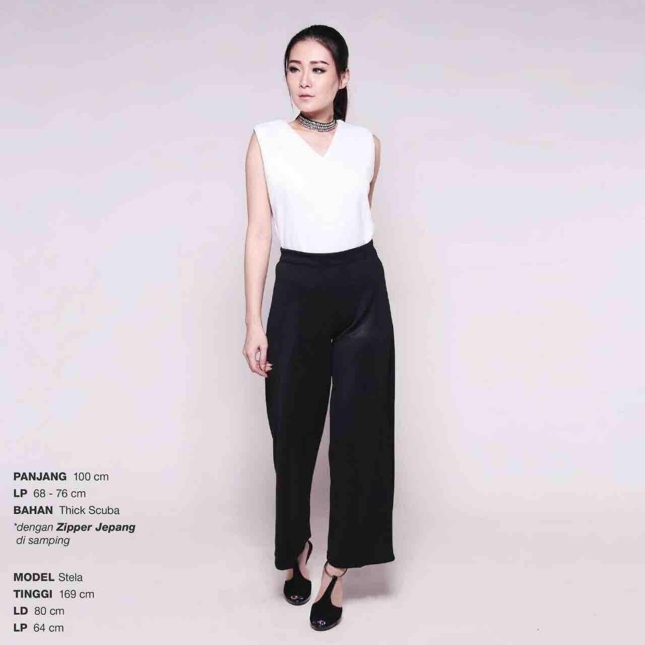 Premium long culottes   celana bahan panjang kerja kulot wanita hitam putih  navy maroon cream 9d343ea7eb